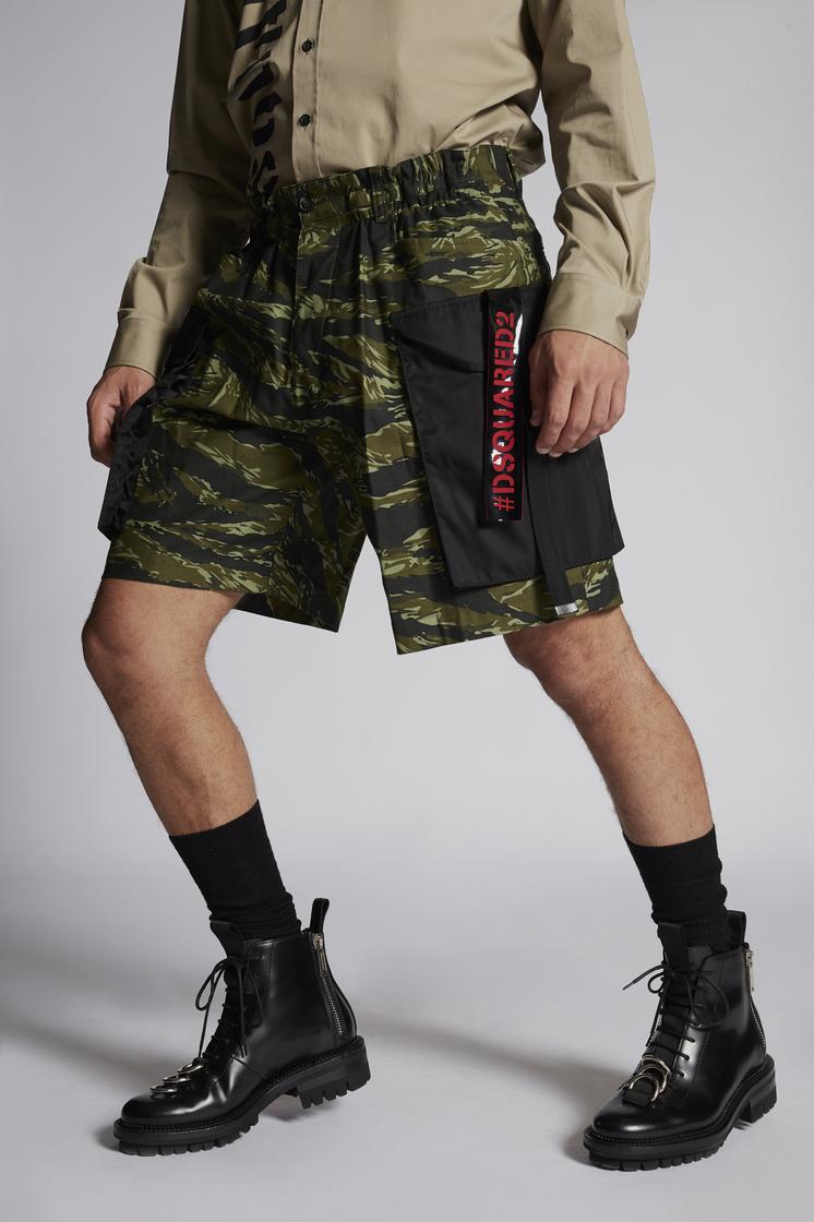 DSQUARED2 Military Cotton Dan Elastic Boxer Cargo Shorts Shorts Man