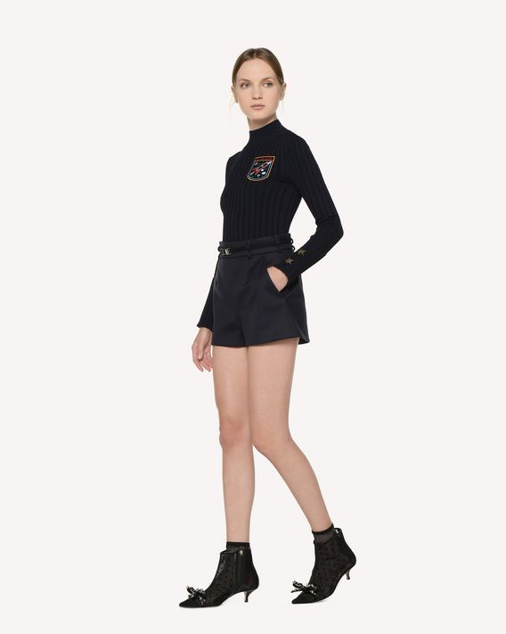 REDValentino 搭扣装饰科技巧克丁短裤