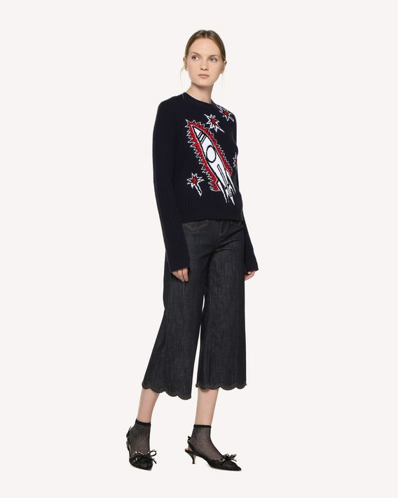 REDValentino Scallop detail denim trousers