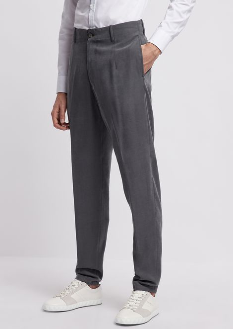 Chino pants in smooth-finish Tencel