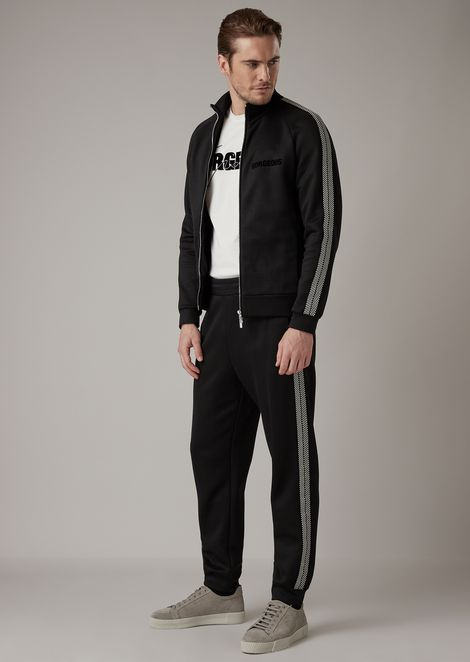 Jogging pants in double jersey with chevron stripe