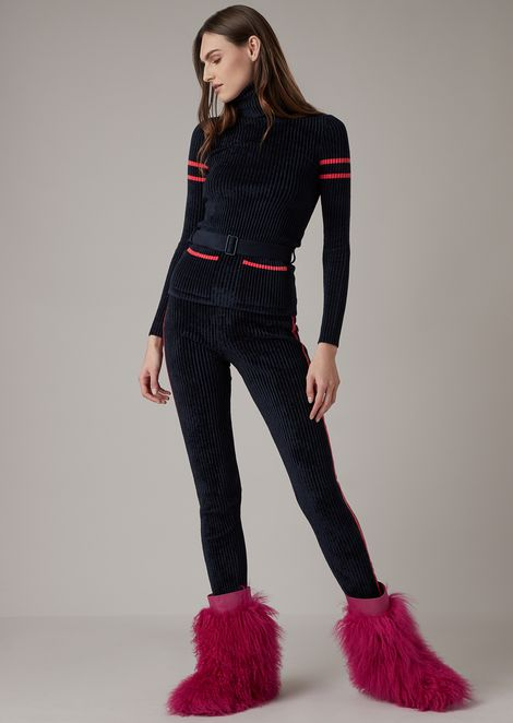 Corduroy leggings with contrasting lateral stripes