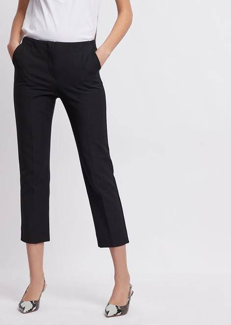 Cropped trousers in pure cotton