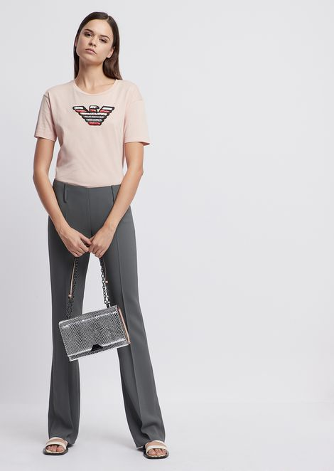 Flared crepe trousers
