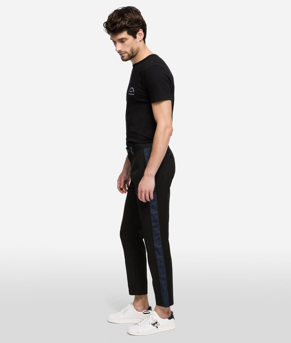 KARL LAGERFELD Wool Chinos with Side Stripe Pants Man d