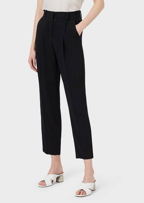 Oversized pants with pleats and satin side band