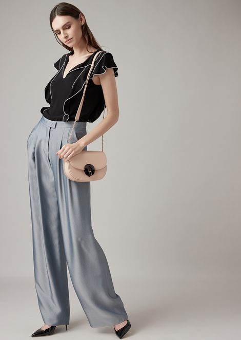 Pleated palazzo pants in patterned needlecord jacquard
