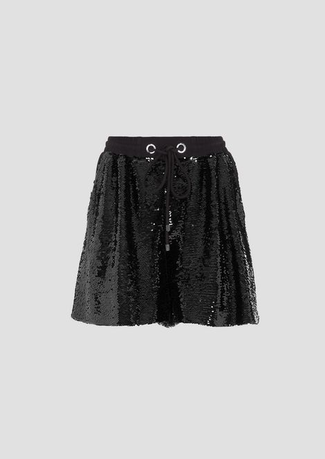 Shorts in all-over sequined fabric with drawstring