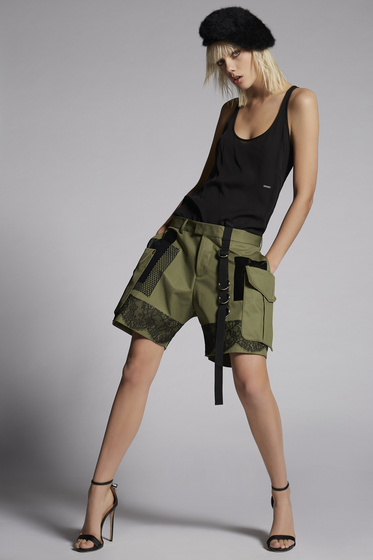DSQUARED2 Cotton Twill Military lace Baggy Shorts 短裤 女士