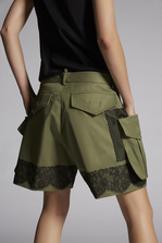 DSQUARED2 Cotton Twill Military lace Baggy Shorts Шорты Для Женщин