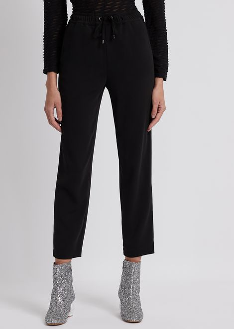 Drawstring-waist cady trousers