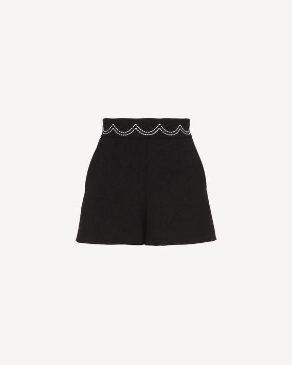 REDValentino Cady Tech shorts with scalloped dotted line embroidery