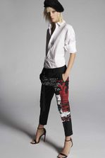 DSQUARED2 Tropical Weight Stretch Worsted Wool Punk Print Hockney Pants Trousers Woman