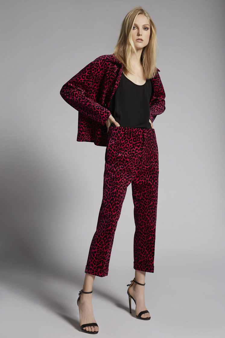 DSQUARED2 Leopard Velvet Dennis Pants Trousers Woman
