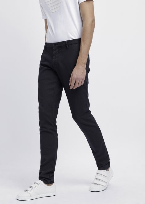 Slim fit chino trousers in yarn-dyed and over-dyed gabardine