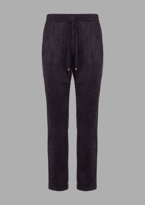 Pantaloni jogger in tessuto effetto alcantara