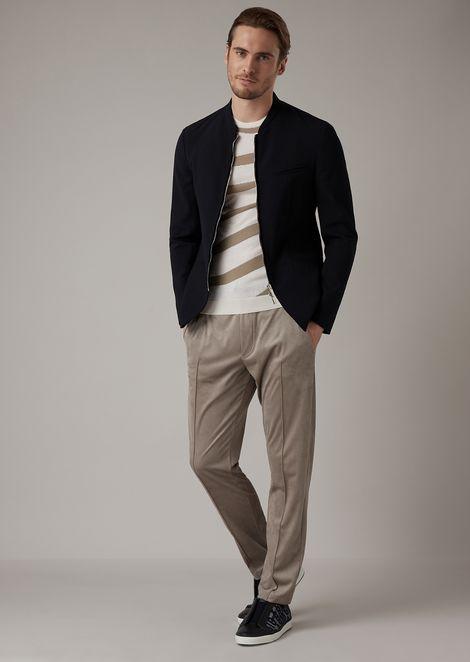 Pantalones tipo chándal en tejido efecto alcantara