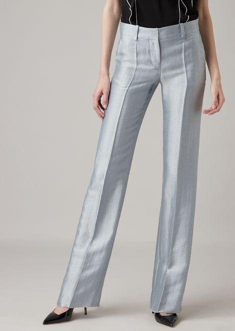 Pantaloni a sigaretta in jacquard chevron misto lino