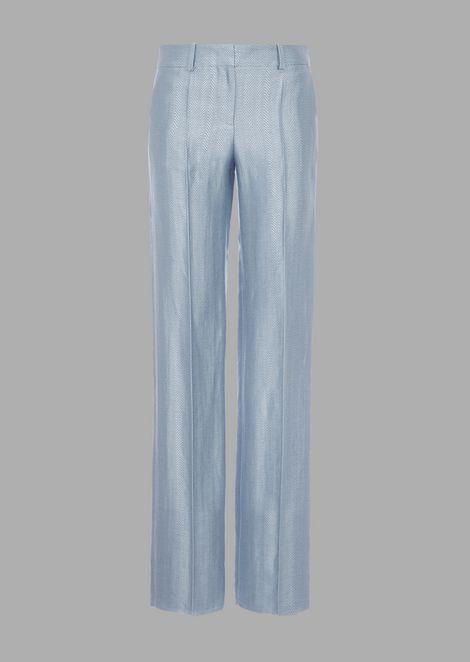 Cigarette pants in chevron jacquard linen blend