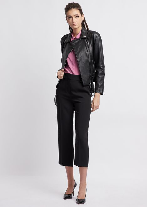 Loose fabric cropped trousers with logo band on waist