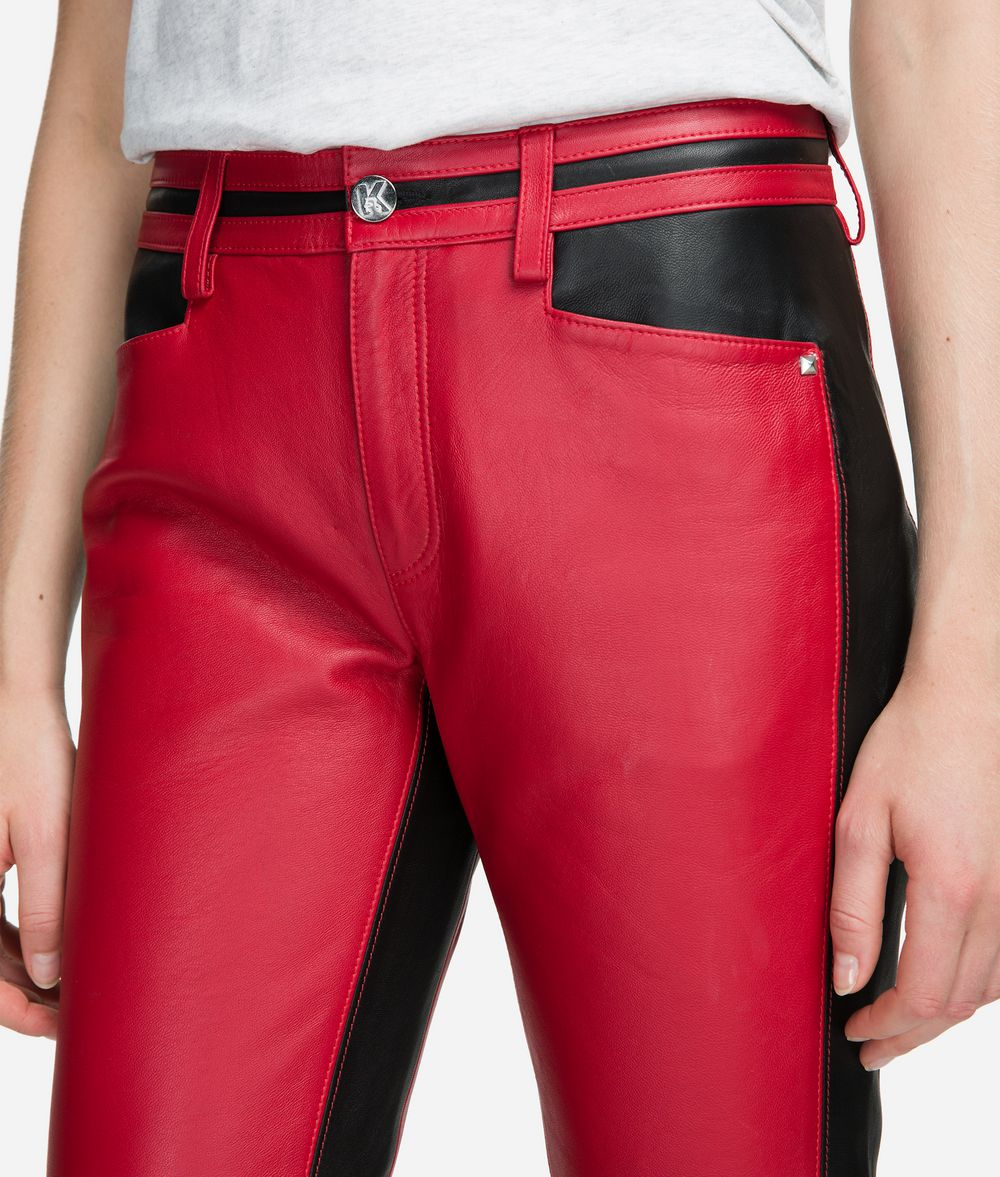 KARL LAGERFELD Cropped Leather Trousers Trousers Woman d