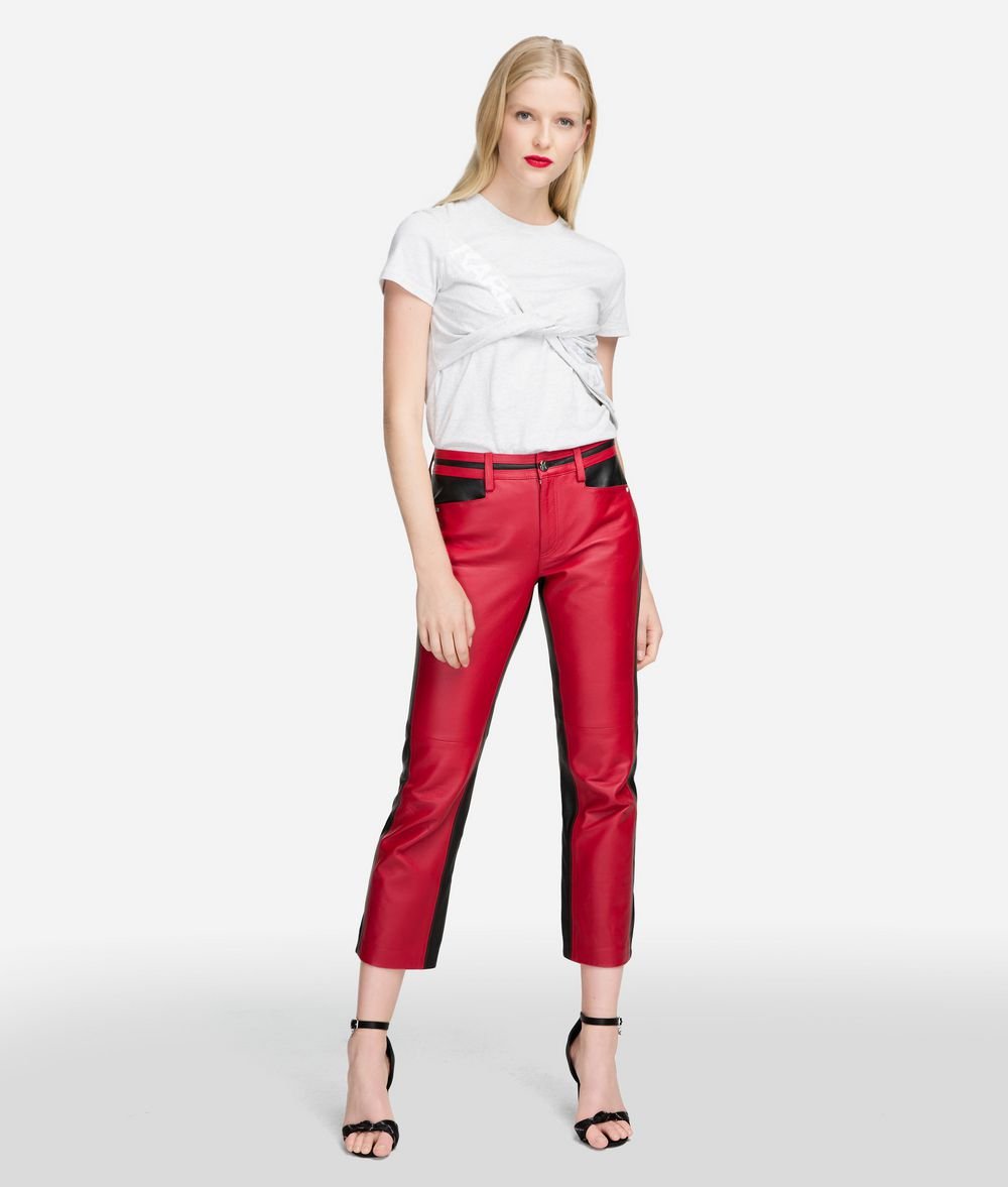 KARL LAGERFELD Cropped Leather Trousers Trousers Woman f