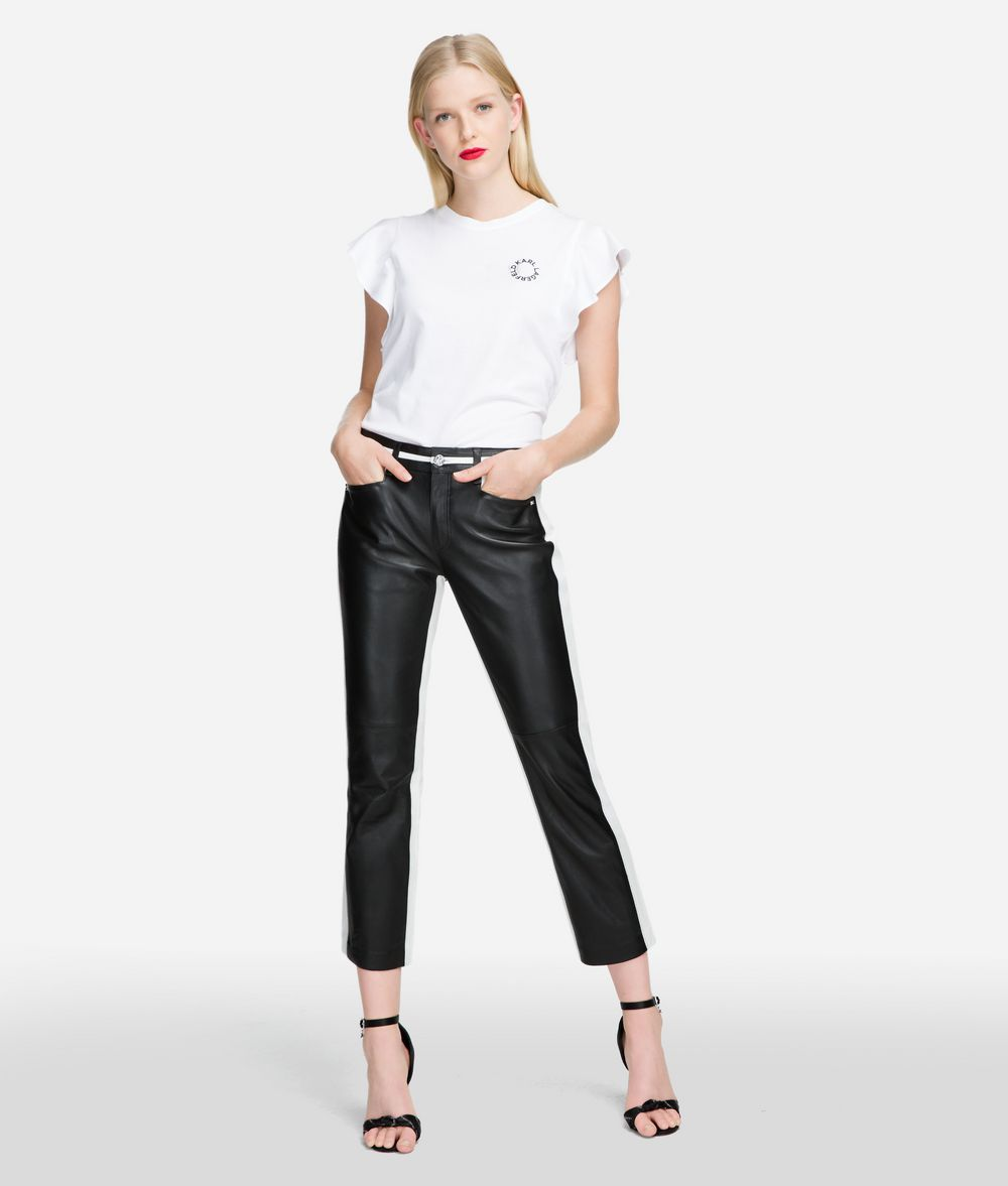 KARL LAGERFELD Cropped Leather Pants Pants Woman f