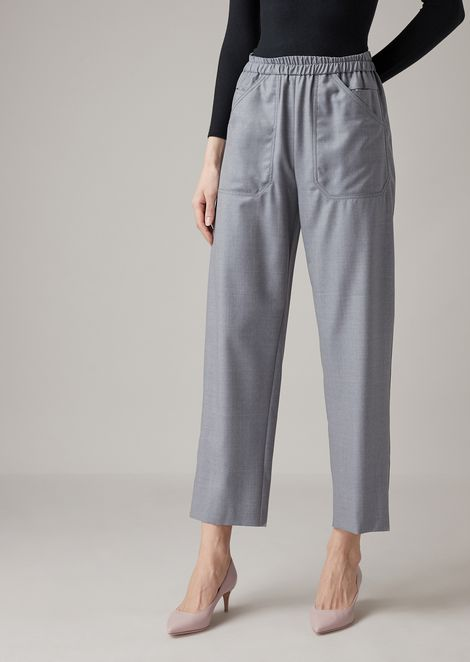 Cropped pants in pure wool melange gabardine