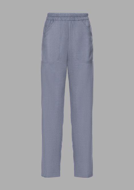 Cropped pants in pure wool melange gabardine