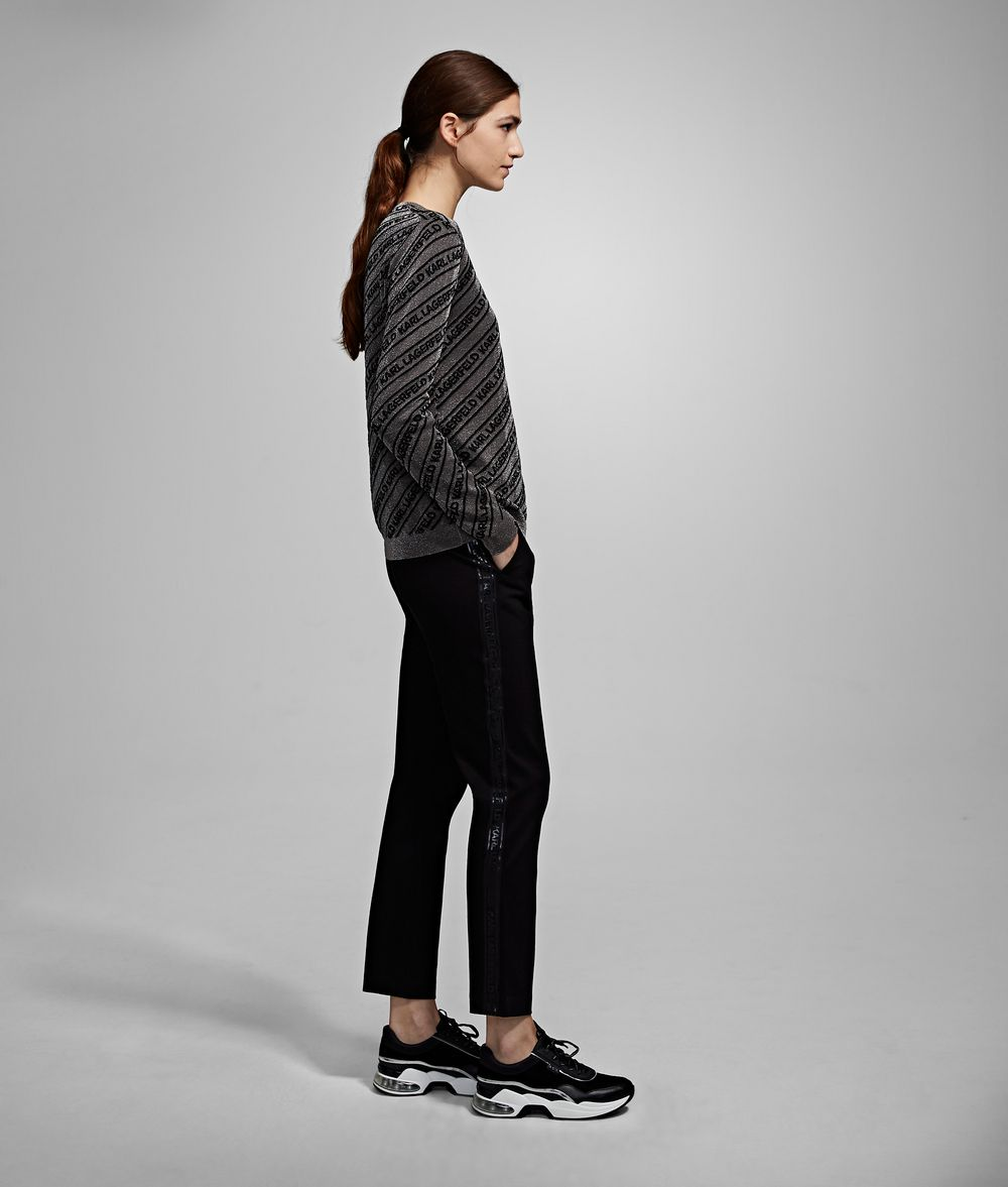 KARL LAGERFELD Punto Trousers with Logo Tape Trousers Woman d