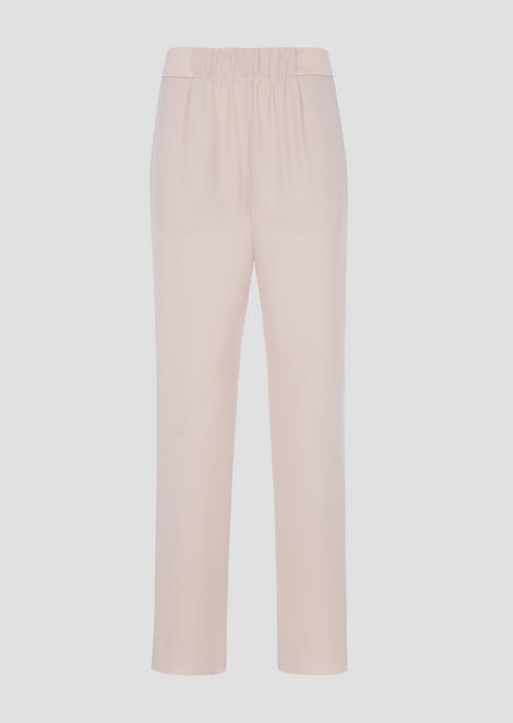 Polyester palazzo pants with stretch waist