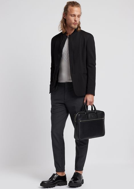 Technical wool trousers with elasticated ankles