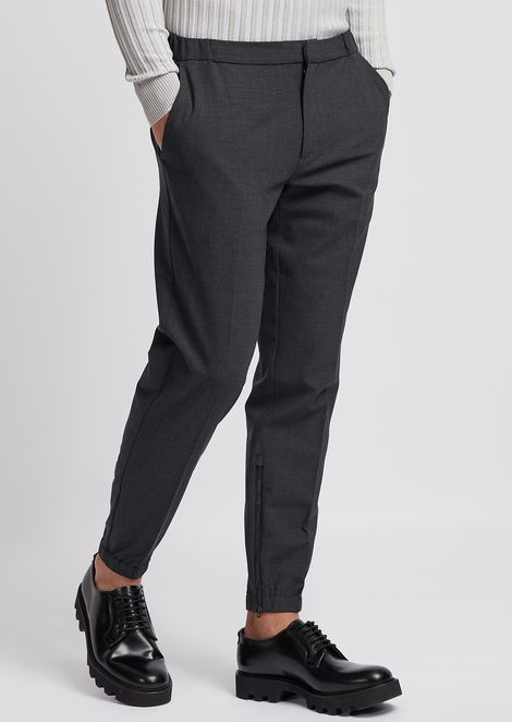 Technical wool pants with stretch ankles