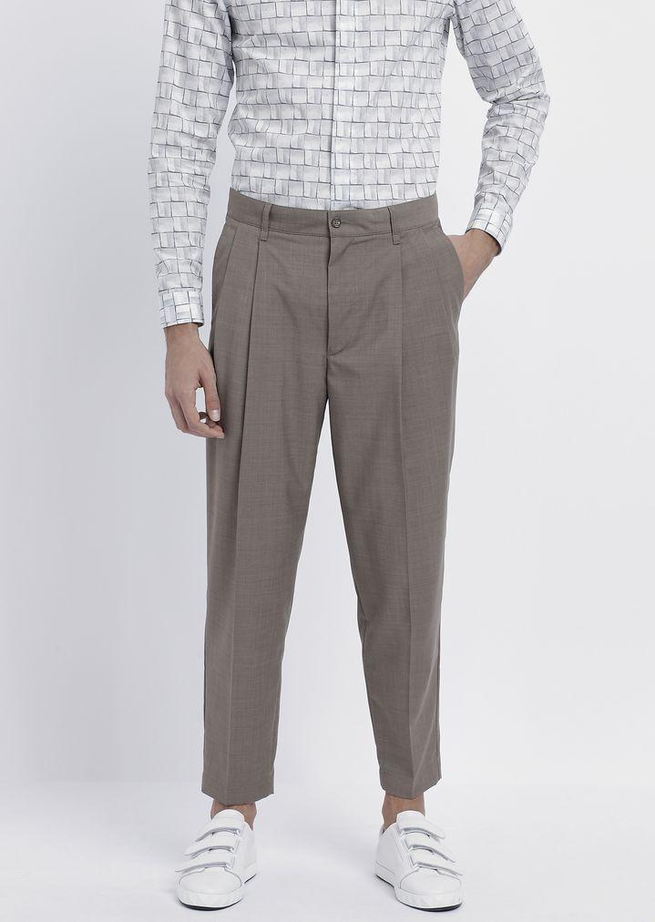 5a5e8fd0c8 Pantaloni over con pinces in lana light | Uomo | Emporio Armani