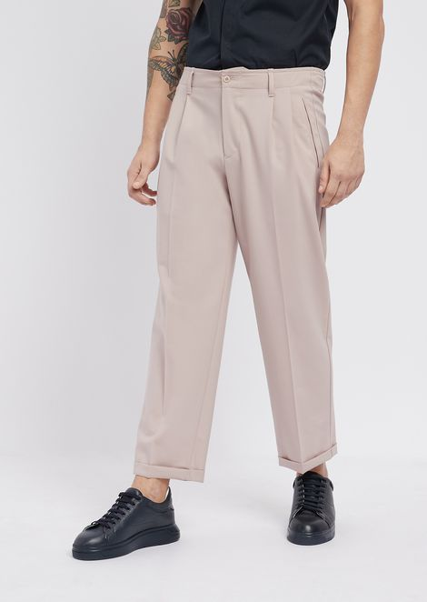 Stretch wool trousers with front pleats