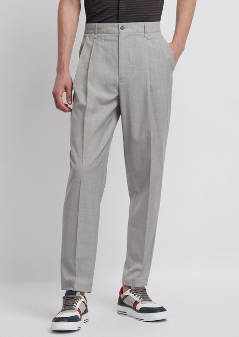 Oversized pants with pleats and light wool
