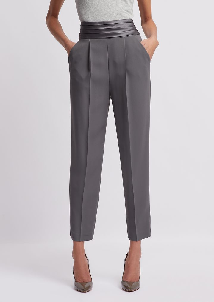 79b0513cc9 Cadì trousers with darts and pleated band in satin