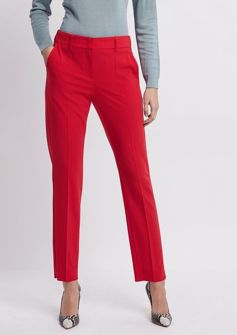 Cigarette trousers in plain-woven crêpe