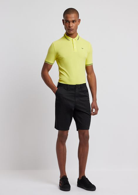 Bermuda shorts in pigment-dyed stretch cotton satin