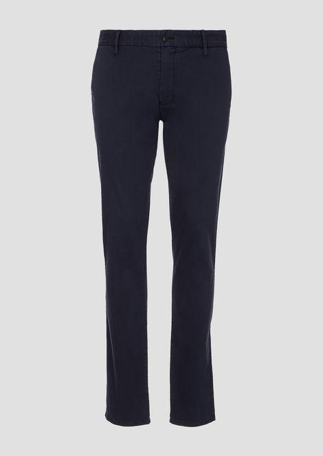 Pantaloni in raso di cotone tinto pigmento