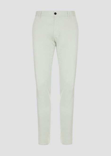 Trousers in pigment dyed cotton satin