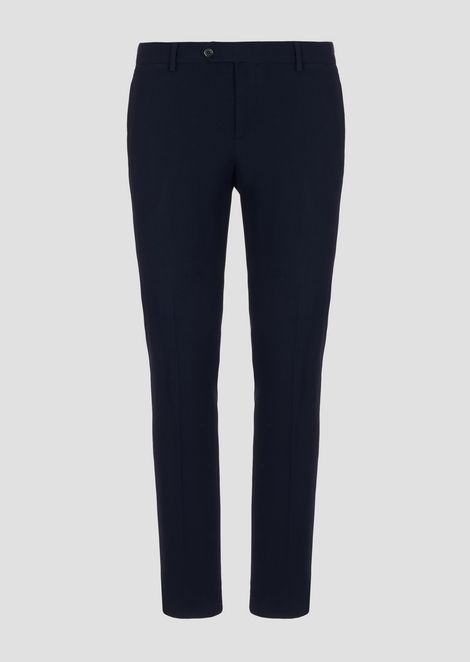 Pants in textured wool/viscose
