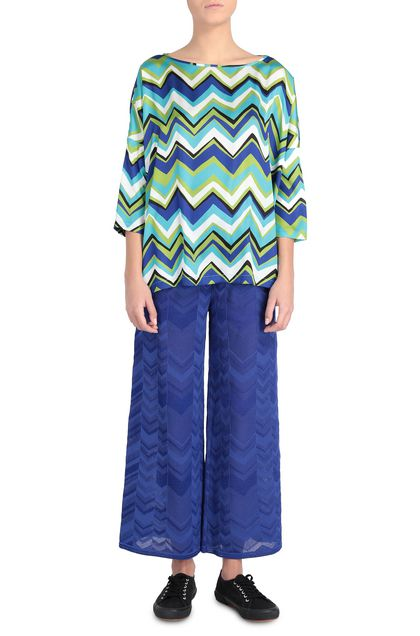 M MISSONI Pants Bright blue Woman - Back