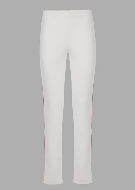 Leggings in bonded virgin wool interlock with contrasting bands