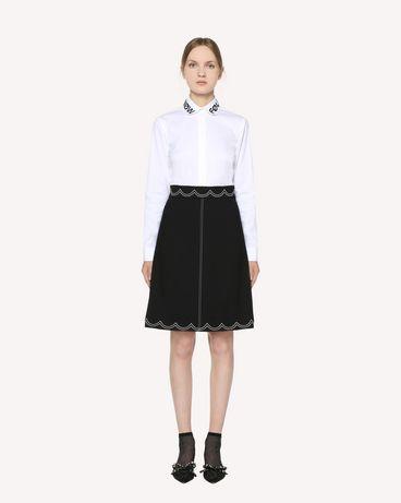 REDValentino 缝线细节科技卡迪半裙