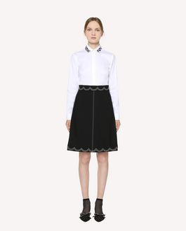 REDValentino Cady Tech skirt with scalloped dotted line embroidery