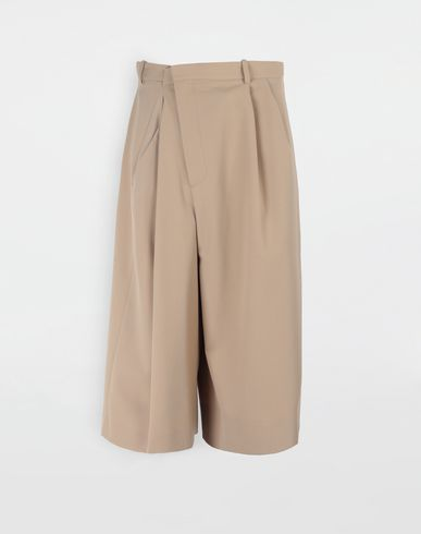 PANTS Asymmetric wool-blend shorts