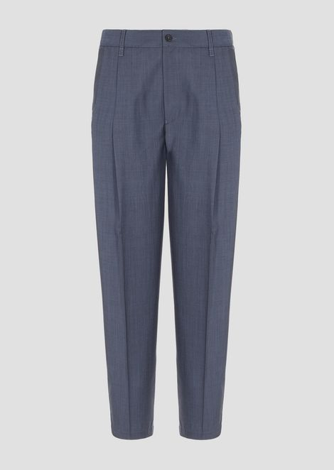 Oversize trousers with pleats and light wool