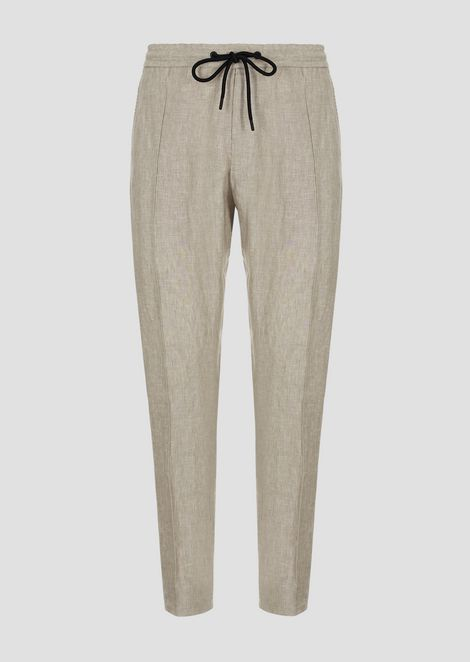 Linen chambray trousers with drawstring waist