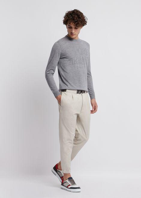 Cotton twill pants with tone-on-tone logo belt